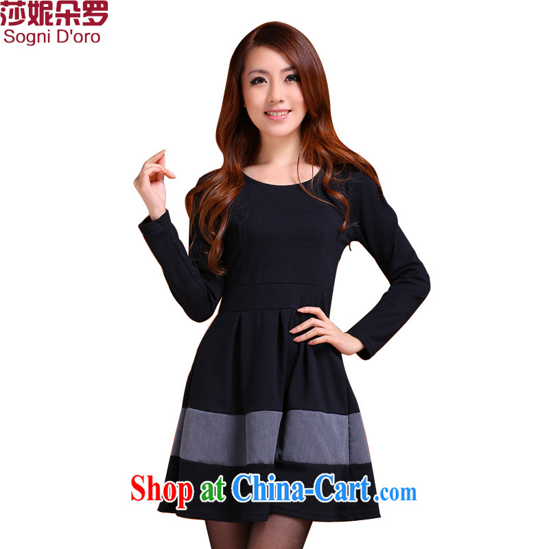Laurie flower, 2014 thick, the king, women's clothing xxxxl mm thick winter with long-sleeved loose video thin dress 9987 black 6 XL