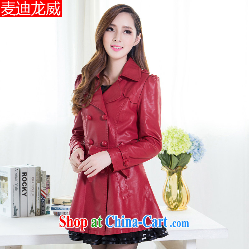 Autumn 2014 the new, larger female Korean fat sister graphics thin, the fat increase PU leather jacket red 6 XL