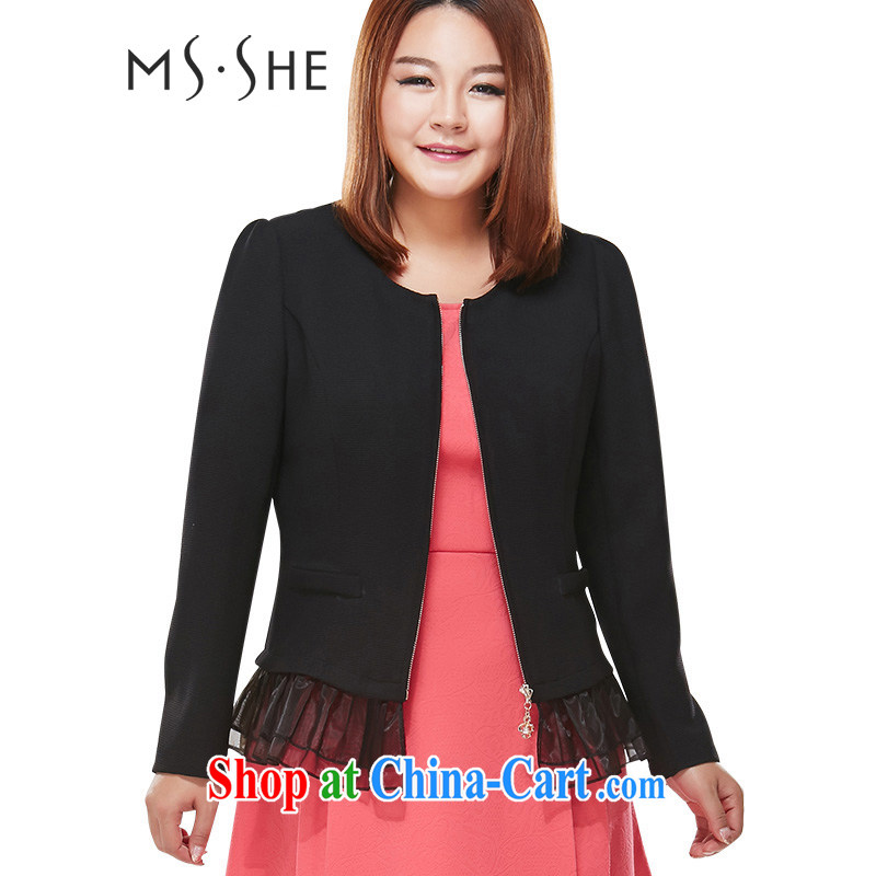 MsShe XL women's coats thick MM autumn 2014 the long-sleeved stitching snow woven cardigan graphics thin 7599 black 2 XL