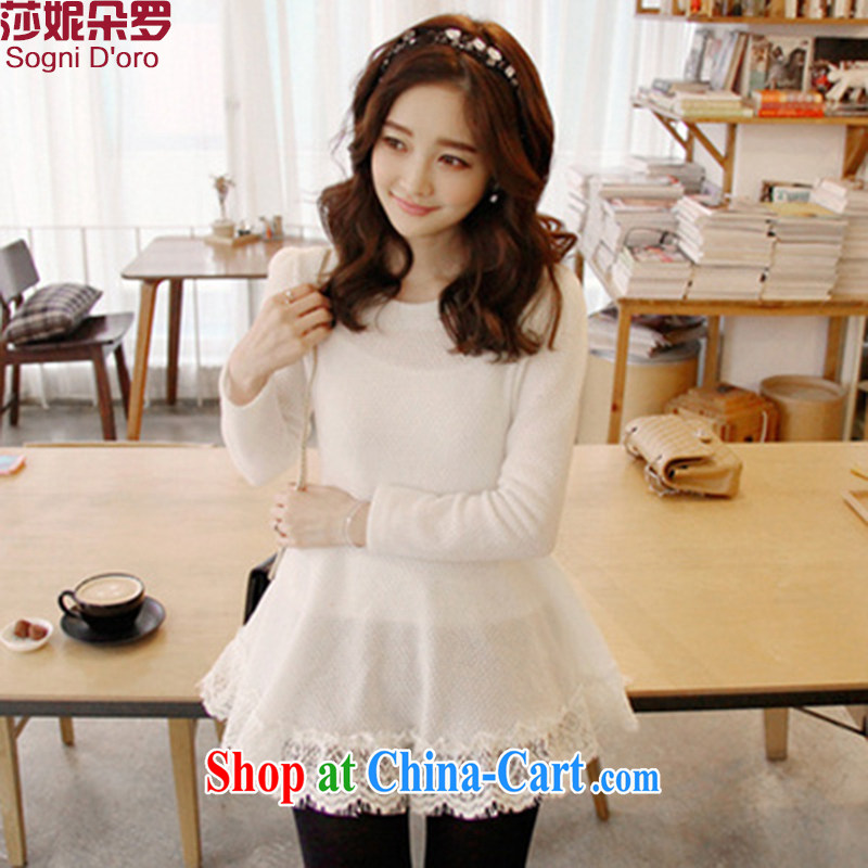 Laurie flower, the Code women 200 Jack mm thick fall 2014 gross Load? lace stitching T shirts girls T-shirt 6431 white 4XL