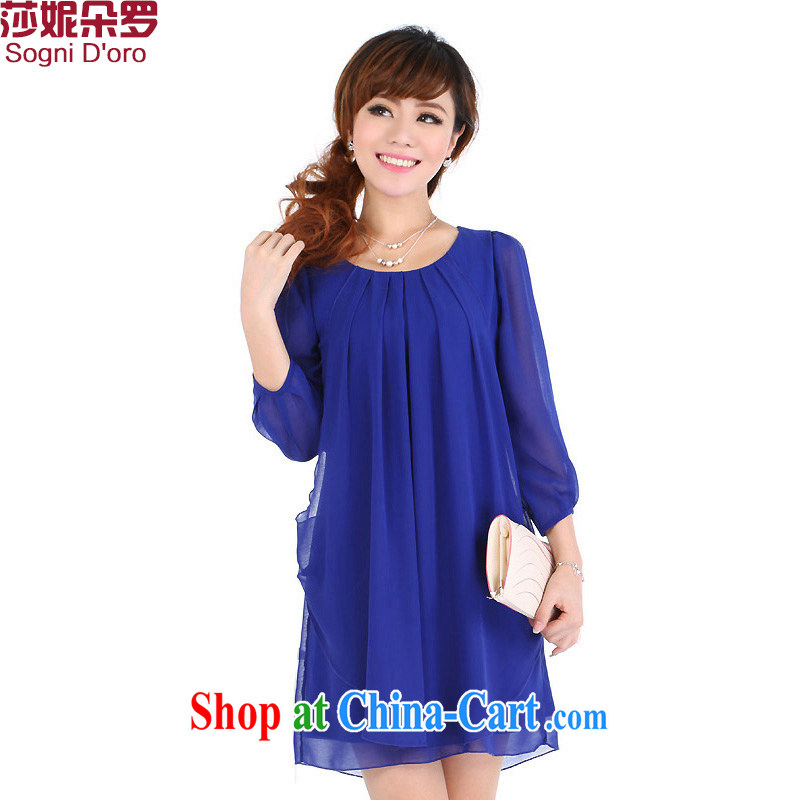 Laurie flower, XL women mm thick load fall 2014 Korean version of the new Snow, woven dresses video thin 4701 dark blue _7 sleeves_ 4 XL