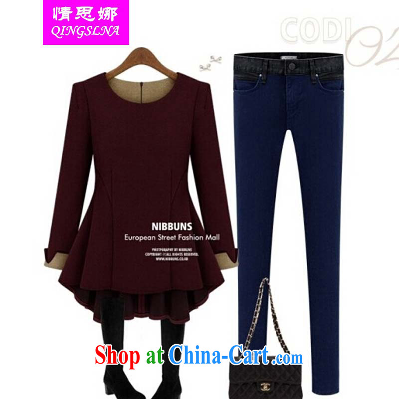 Colorful nickname Julia 2015 new, larger female autumn and the long-sleeved top, T-shirt thick mm loose video thin increase the fat solid T-shirt wine red XXXXXL