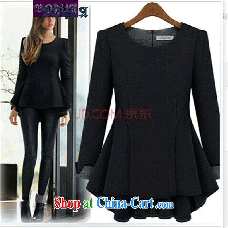 Hua 2015 new larger female long-sleeved large code t-shirt thick mm loose video thin increase the fat solid shirt N 130 black XXXXXL