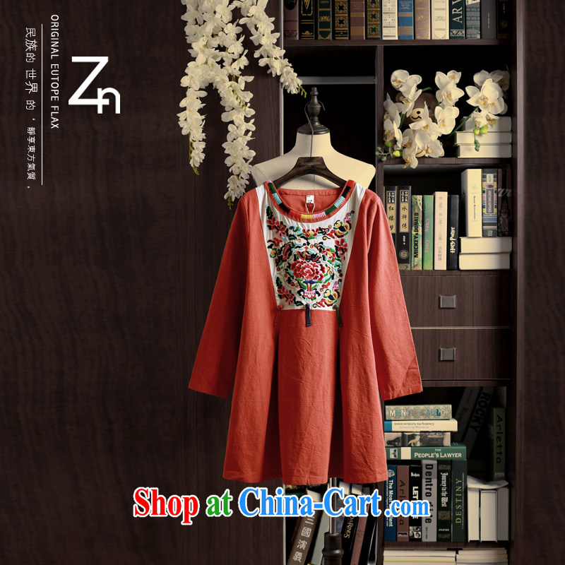 Spring ZN cotton skirt the ethnic style embroidery stamp dresses stylish quality pressure hem thick, soft blouses unique features designer orange red L