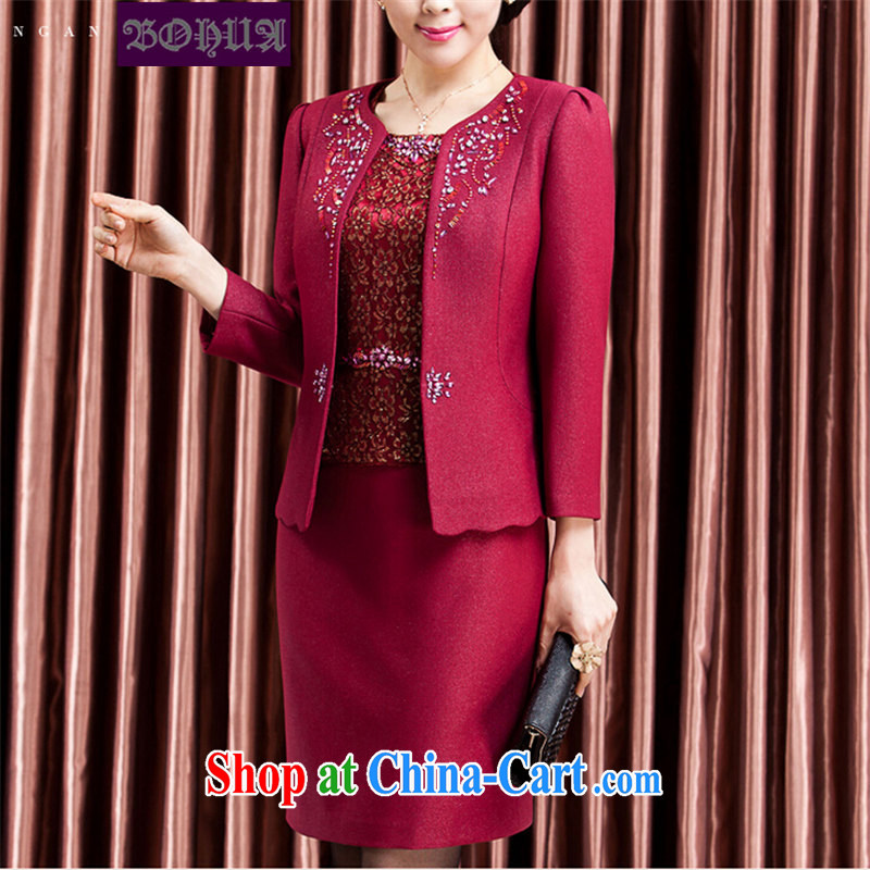 Jacob, 2014 dresses, older women is the two-piece long-sleeved dresses mother load package B 468 #6902 Magenta 4XL