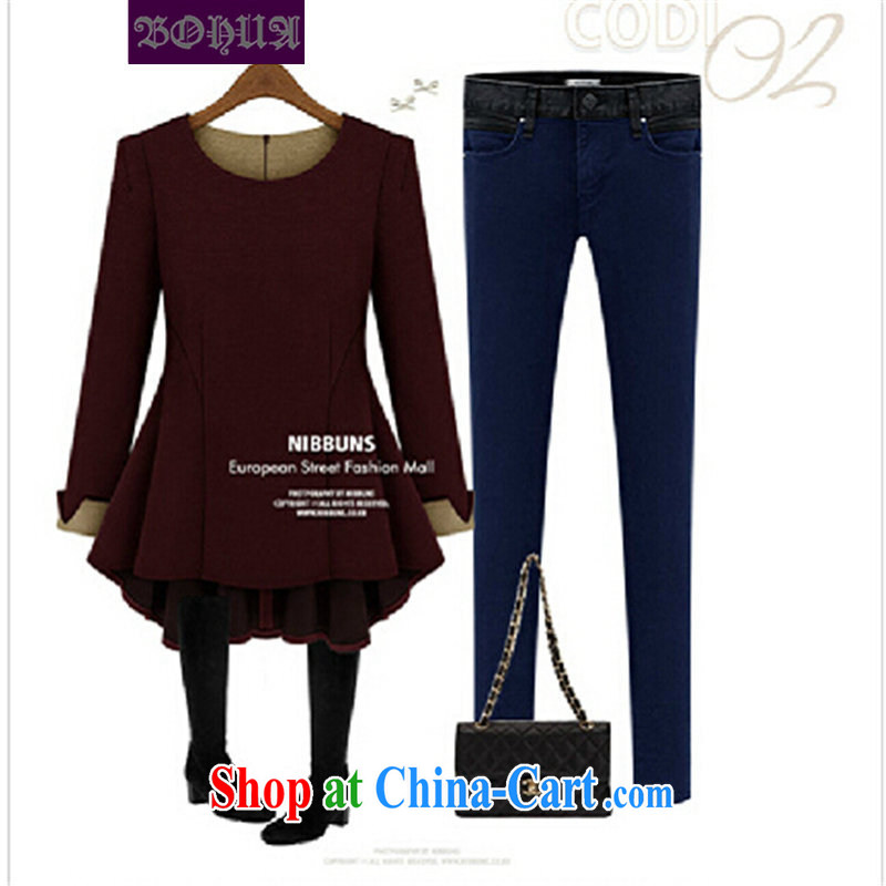 Jacob, 2014 new larger female long-sleeved large code t-shirt thick mm loose video thin increase the fat solid shirt N 130 wine red XXXXXL