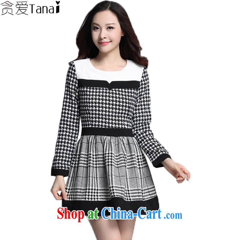 Loved up in Europe and America, female spring new 1000 birds, long-sleeved-waist dresses 3597 grid 4 XL