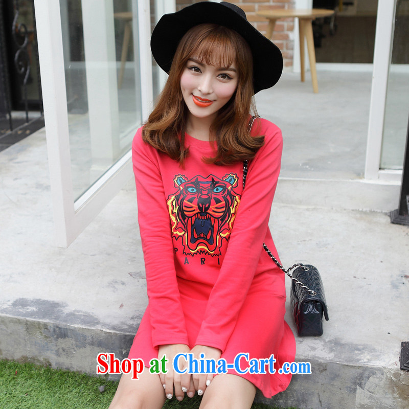 Optimized for the one XL female 2014 mm thick winter with Korean version of the new, round-neck collar graphics thin, long dresses red XXXXL