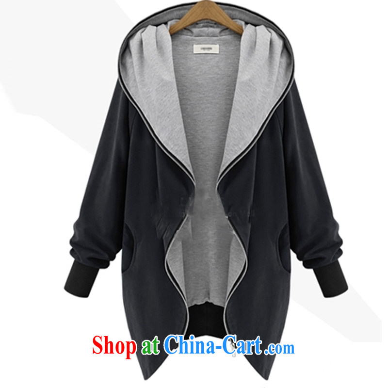 The Korea House, 2014 the Code women fall on the Fertilizer increased graphics thin cap zipper cardigan jacket FC CD 3087 60 _214 black XXXL