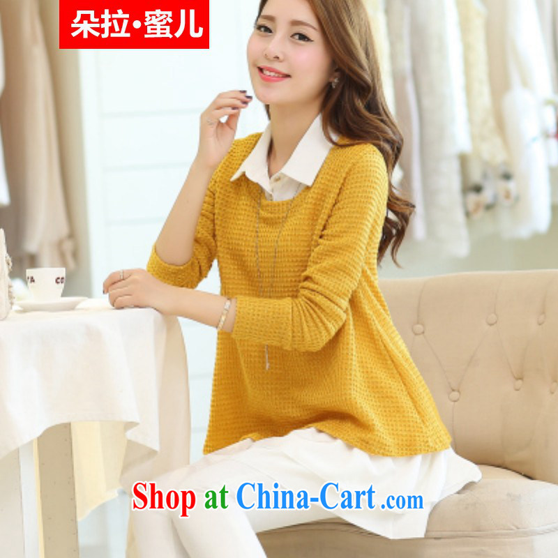 Dora, honey child 2015 spring new Korean loose the code cultivating biological empty long-sleeved sweater stitching knitted shirts female Two-piece 30801808 yellow XXXL