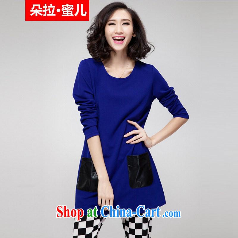 Dora, honey child spring 2015 Korean version of the new, thick mm larger female loose dress long-sleeved T-shirt T-shirt 30807095 blue XXXXL