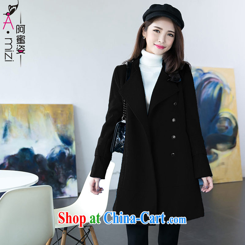 The honey and diverse the Code women mm thick 2683 winter new high-quality thick wool that the coat jacket women 2683 black L