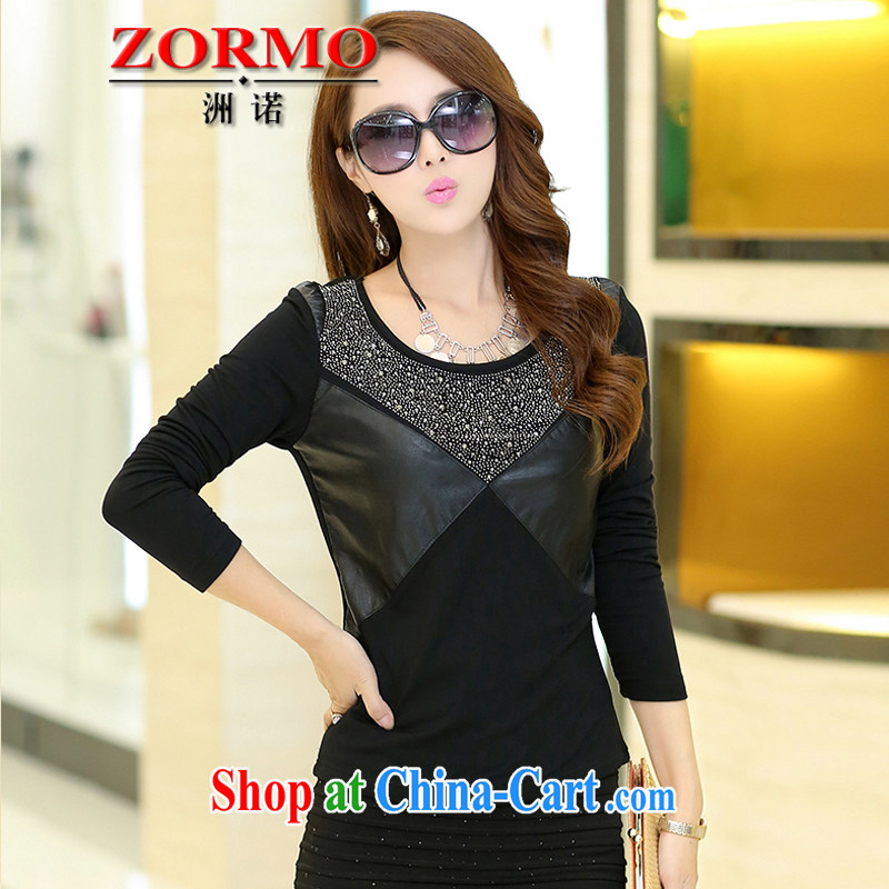 ZORMO Korean female autumn and winter, PU leather stitching hot drill the fat increase, female solid shirt thick mm the lint-free cloth T-shirt black 5 XL 175 - 195 jack