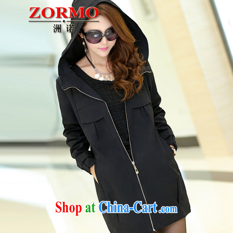 ZORMO Korean female autumn and winter, mm thick and fat increased in number, length, Windbreaker black 4XL 160 - 175 jack