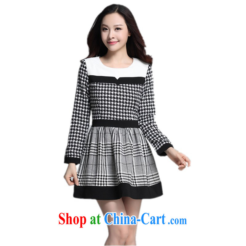 Land is the Yi XL female dress autumn 2014 the Korean style 1000 birds, stamp duty stitching OL cultivating short skirts the waist graphics thin dresses m thick black 4 XL approximately 170 - 180 jack
