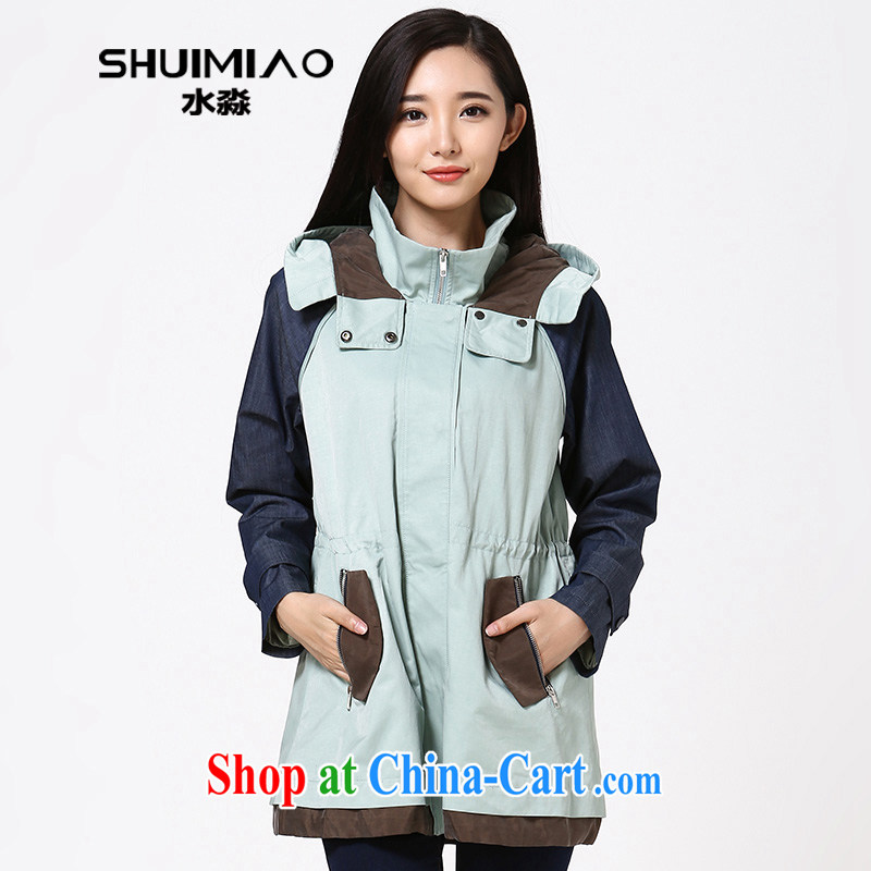 Water by early autumn 2014 new thick mm long-sleeved jacket Korean version of the greater, female, long windbreaker S QH 14 3497 Diane Tsing XXL
