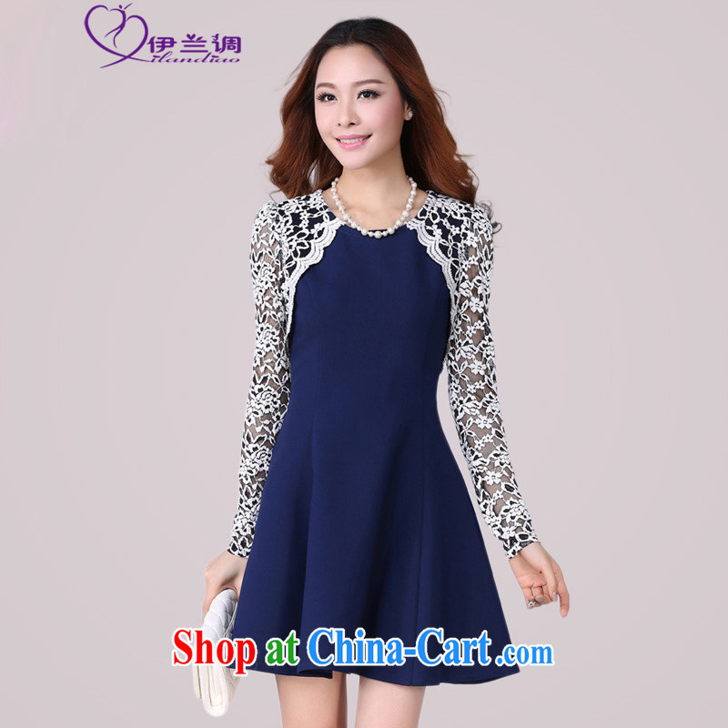 The blue-XL fat people dress dress long-sleeved lace China wind graphics thin 2015 spring new Korean Beauty mm thick lady skirt blue 2 XL 115 - 130 jack