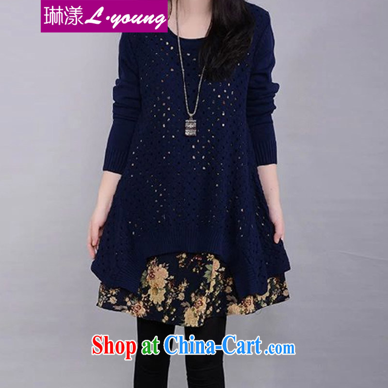 Lin chestnut dress 2014 fall, winter new thick MM larger sweater cotton Ma two-piece knitted sweater dress blue XL