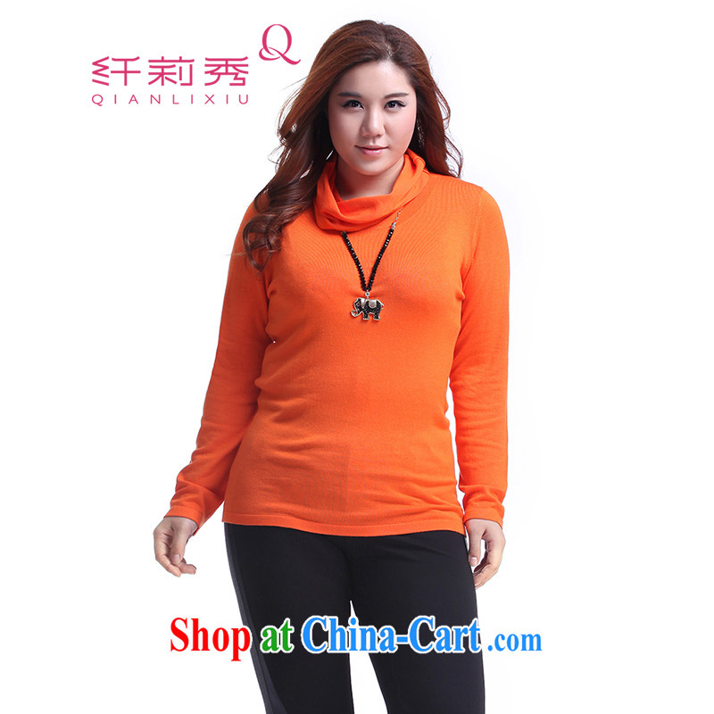 Slim LI Sau 2014 autumn new larger female decoration, 100 ground commuter sweater Q 6277 orange red XL