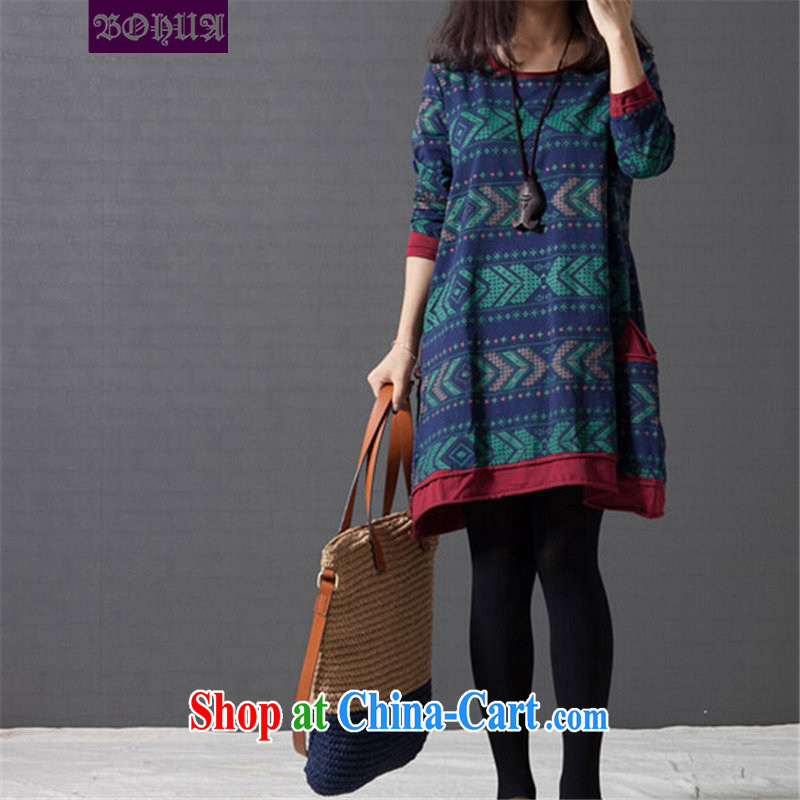 Jacob, the 2014 autumn the new Korean version of the greater code female ethnic wind arts van stamp duty cotton the dresses FB 2091 arts tartan blue XXL