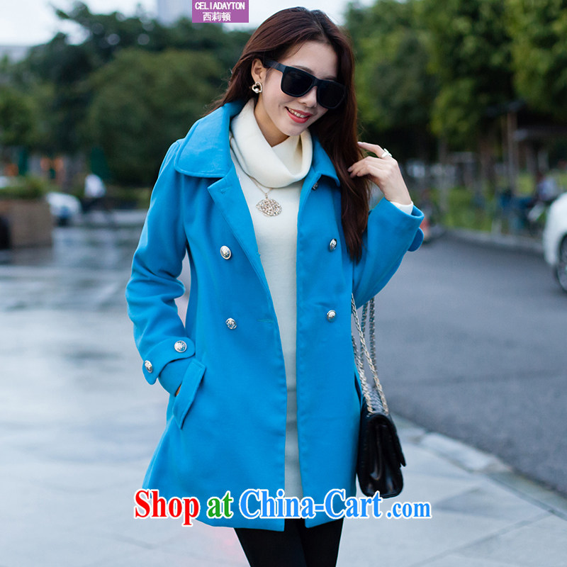 Ms. Cecilia Clinton's large, female 2014 autumn and winter with new upscale cashmere overcoat thick mm video thin and thick and long, the gross? jacket girls? The coat blue XXXL