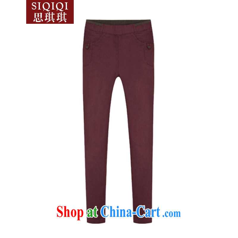 The Qi Qi _SIQIQI_ Spring 2015 new Europe mm thick larger female decoration, and indeed increase pencil trousers XXK 1011 wine red XXXXXL