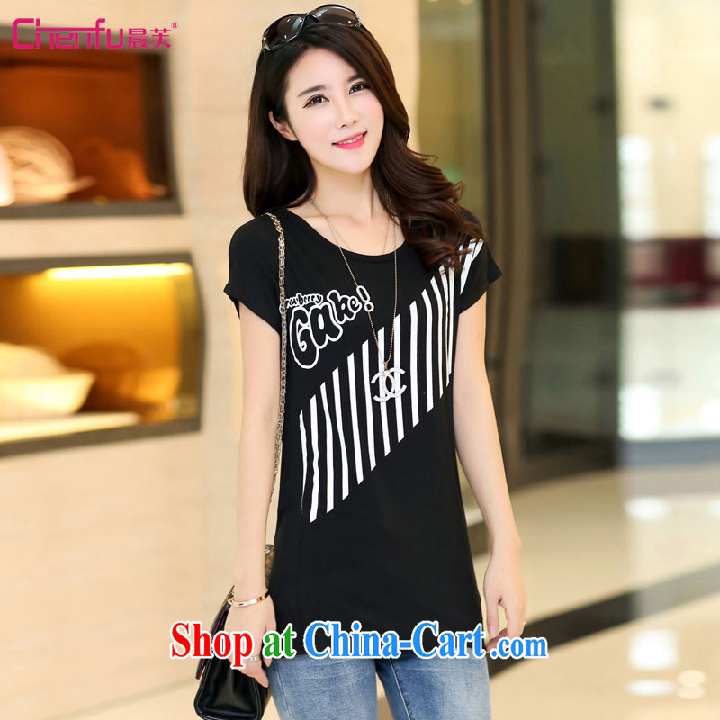 Morning would be 2015 spring new Korean version is indeed the XL female fat sister leisure 100 ground graphics thin round-collar short-sleeve stamp Mok, T shirt T-shirt black 4XL