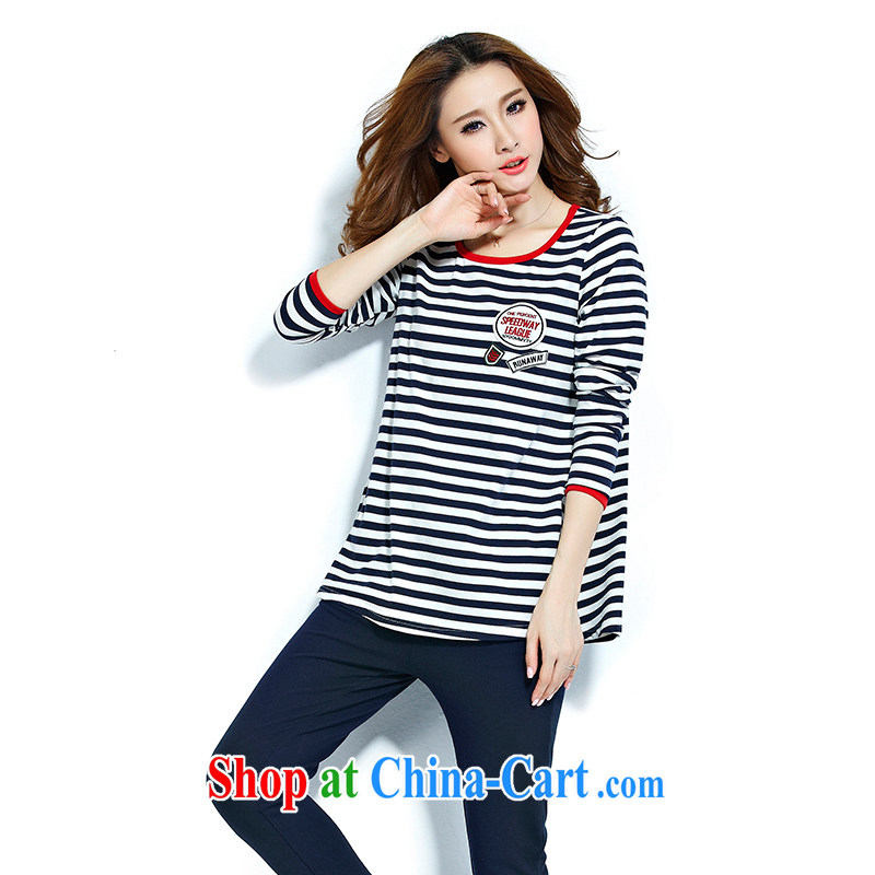 The Taj Mahal, flower 2015 new spring stripes T pension large code female thick MM stylish casual relaxed two-part kit WM 7128 royal blue 4 XL