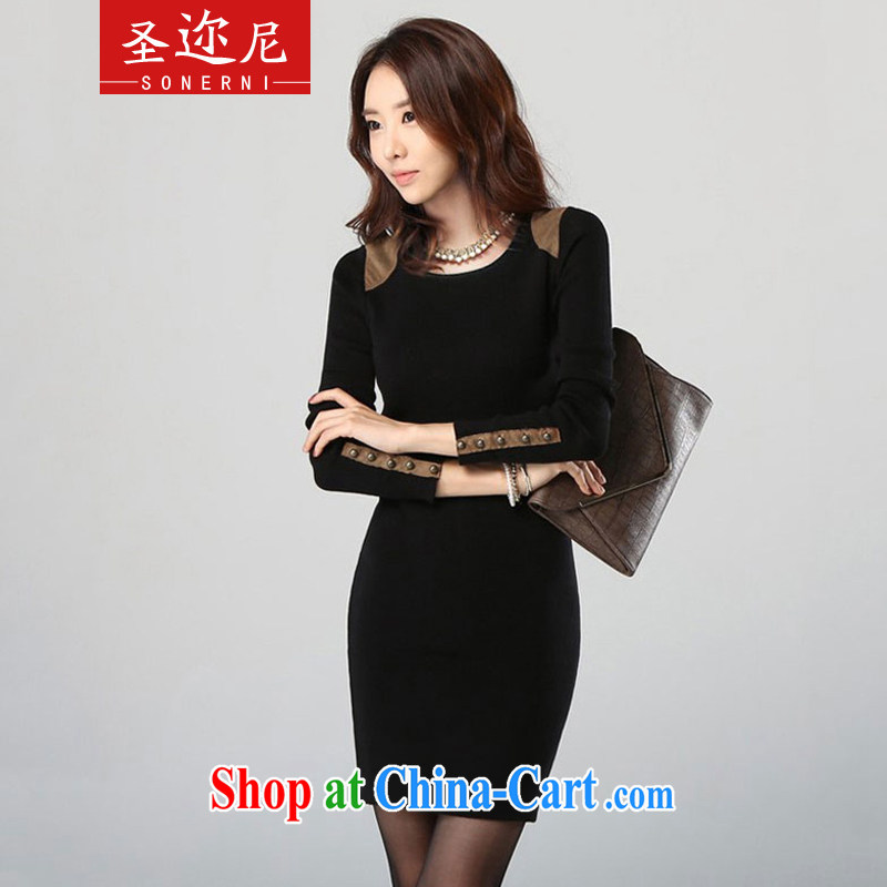 The ethnic cleansing in 2014 autumn and winter new Korean trendy Code women solid long-sleeved dresses OL temperament beauty package and 011 black XXXL