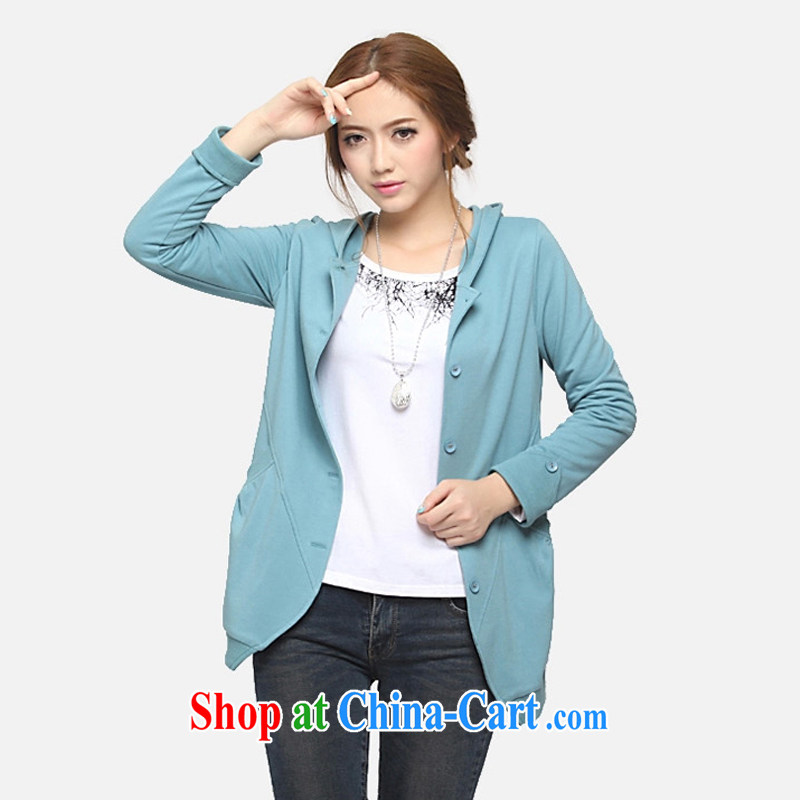 Cloud a large number fall 2014 Women's clothes new, long cardigan thick mm XL video thin sweater jacket Lake blue XXXXXL