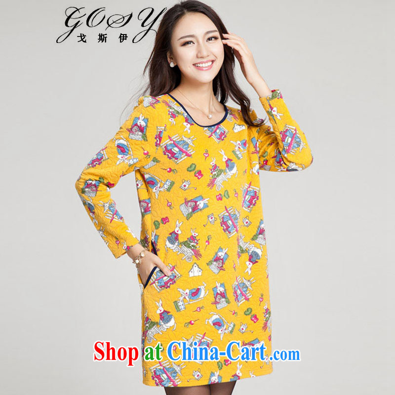 Goss (GOSY) Autumn 2014 the new, large, female fat people cultivating effect dresses stamp duty folder silk cotton dress yellow XXXL