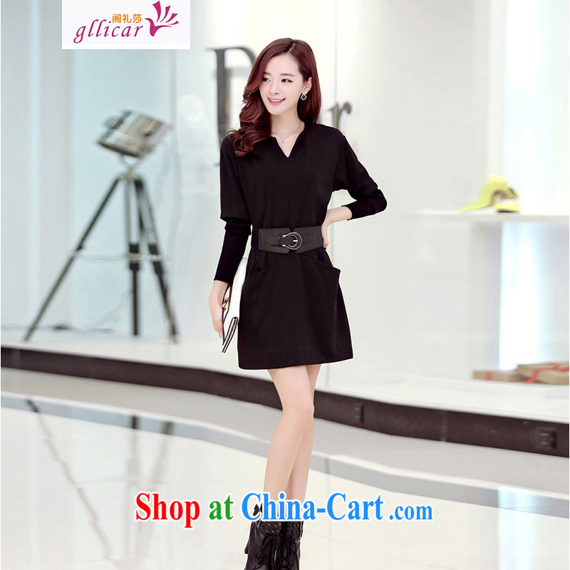 ge lai Windsor 2015 spring new and indeed increase, female Korean video thin, dresses QDL 018 black XXXL
