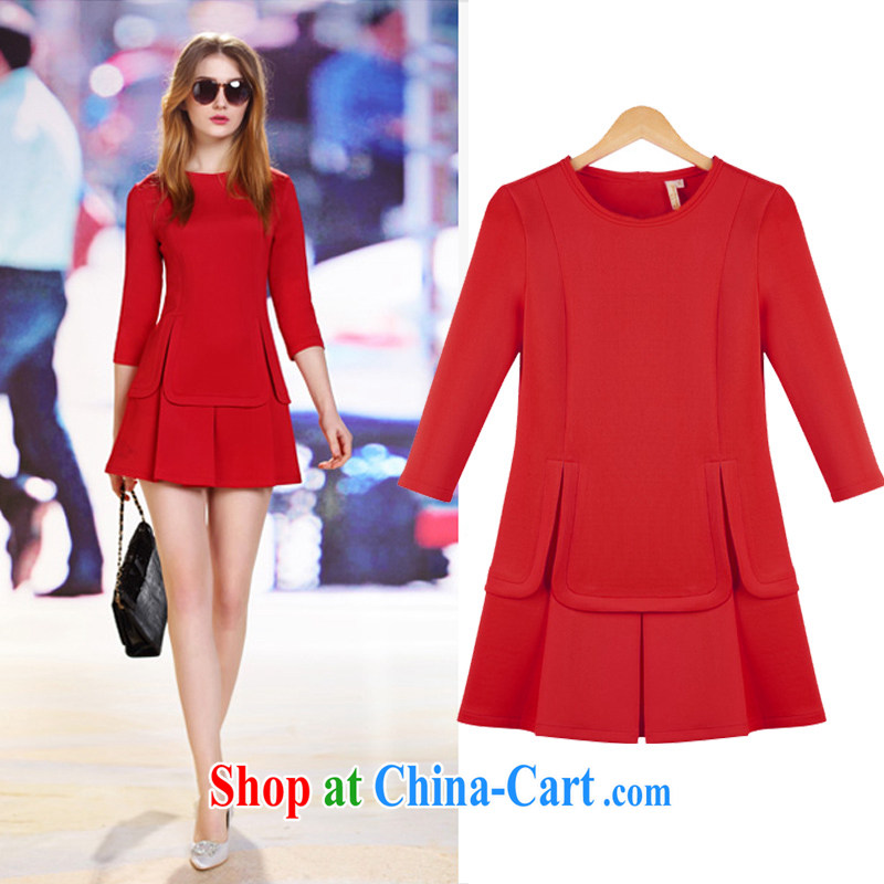 Cloud a large number fall 2014 with new women with solid skirt thick MM cultivating graphics thin style fashion dresses red 5 XL