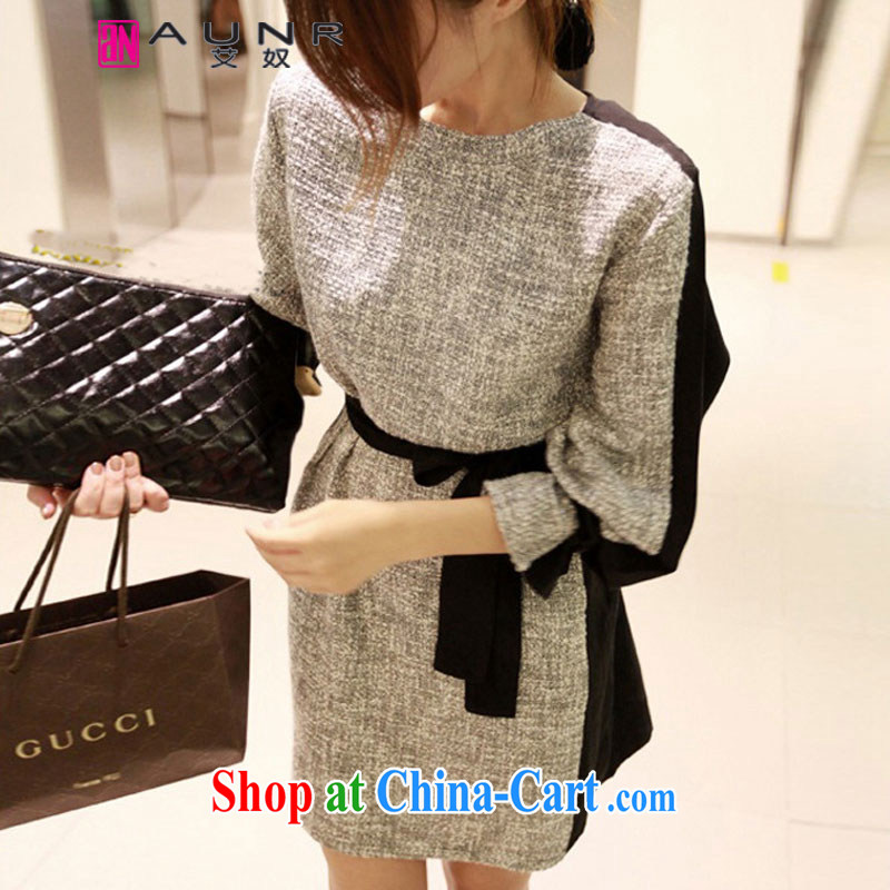 The slave trade 2014 autumn and winter clothing Korean version cultivating long-sleeved stitching, with a large, female solid dresses women 1412 photo color XXL