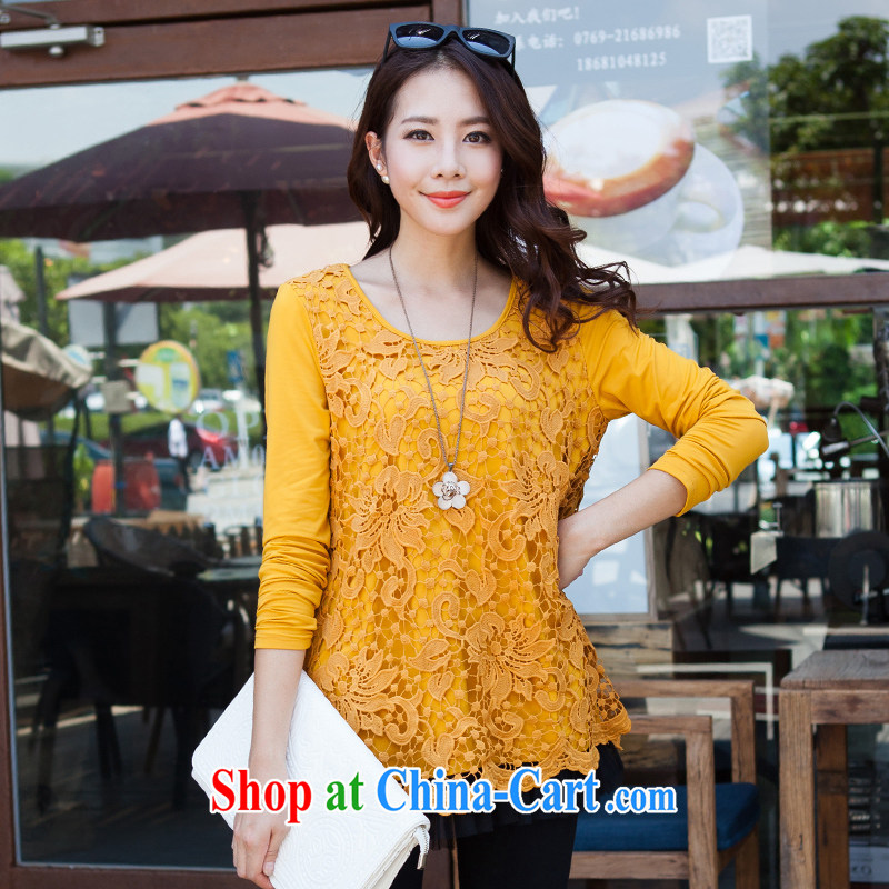 The Taj Mahal, 2015 Flower Spring lace solid shirt girls long-sleeved larger female thick MM large T shirt shirt WM 8878 Kang yellow 4 XL