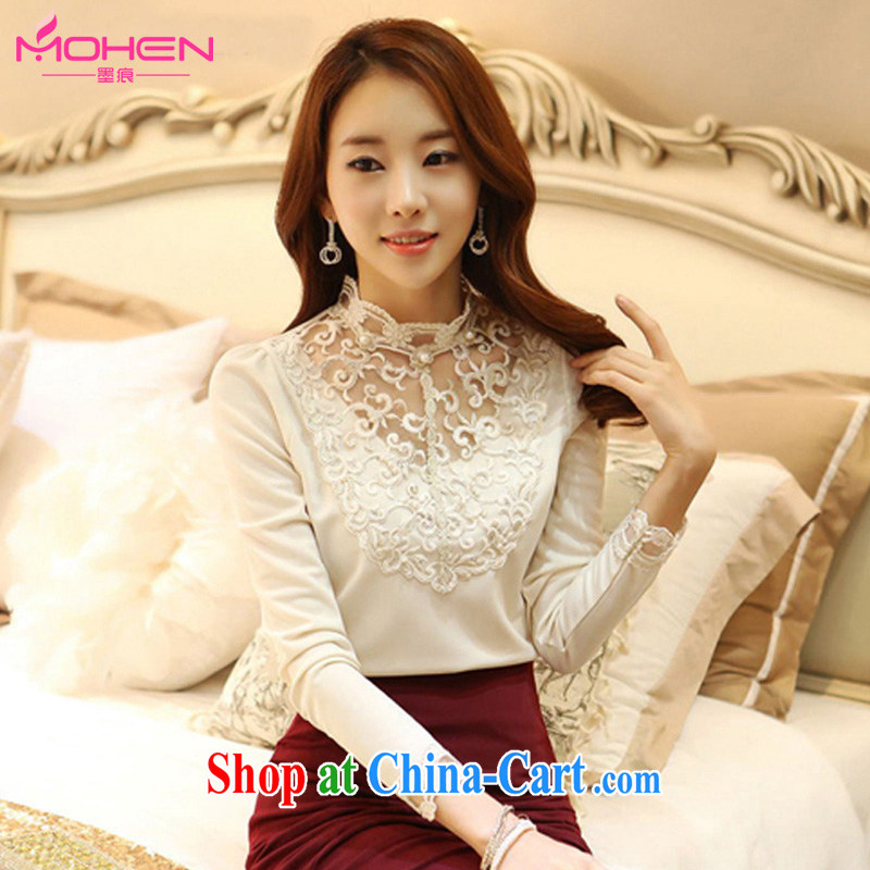 The ink marks spring 2015 new Korean trendy, female T shirt solid shirt thick MM cultivating graphics thin lace stitching high collar long-sleeved solid T shirt white 2XL _suitable for 135 - 150 jack_