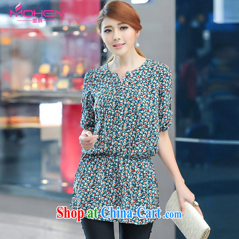 The ink marks spring 2015 new Korean trendy, female snow-woven dresses thick MM loose video thin-waist V collar long-sleeved snow woven dresses green suit 4 XL recommendations 165 - 180 jack_