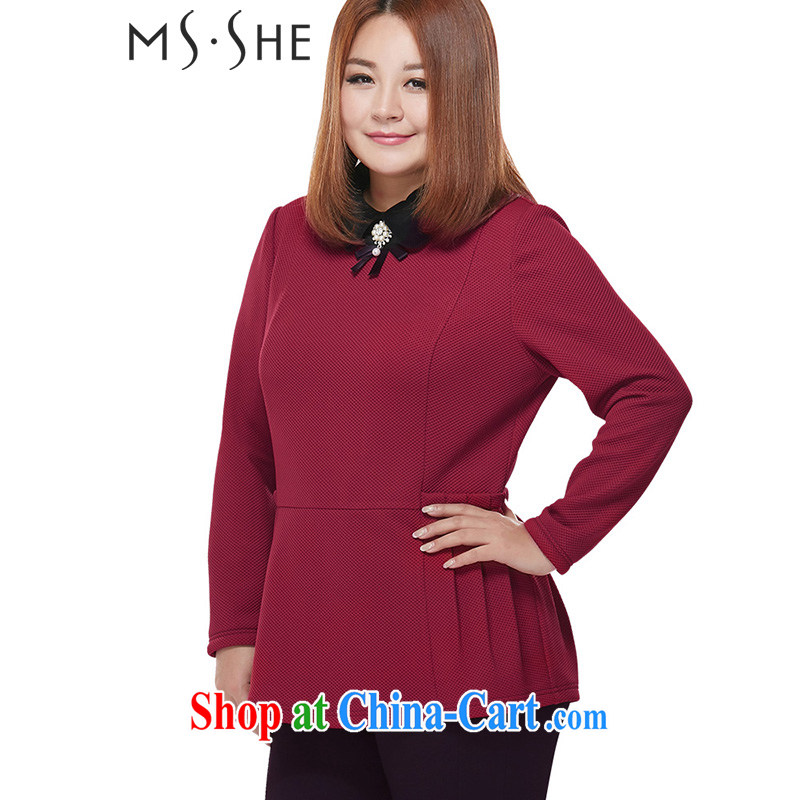 The MsShe Code women winter 2014 new thick MM graphics thin T shirts clearance 2040 wine red 5 XL
