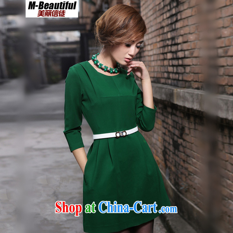 Beautiful believers spring 2015 new Europe and America, new high-end custom 7 cuff larger dresses beauty female Green XXXXL