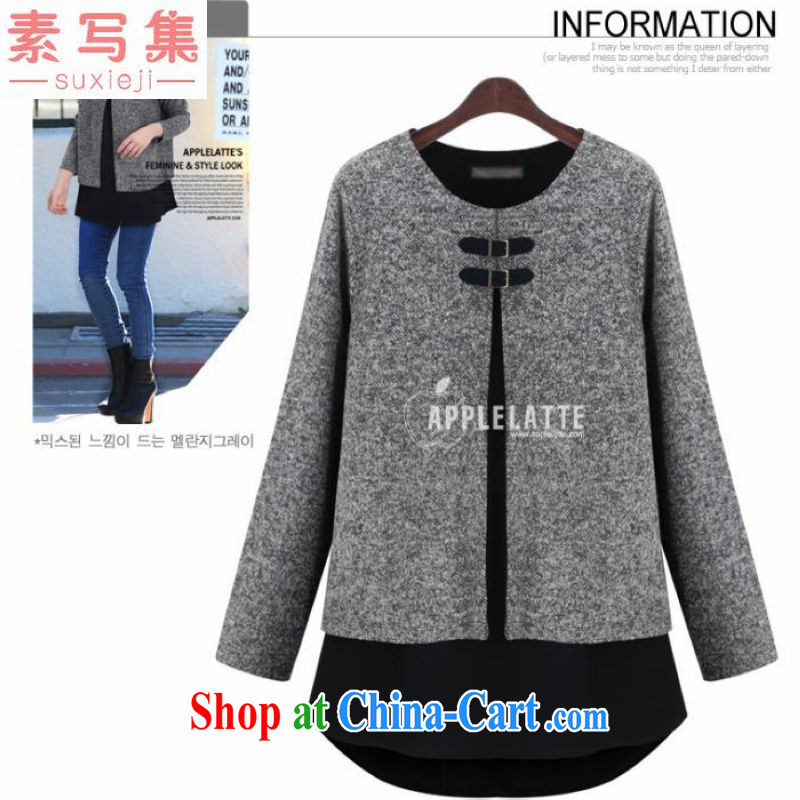 write of 2014 set the fat increase, female 200 Jack autumn and winter clothes mm thick cloak leave two-piece T shirt T-shirt graphics thin coat gray 5 XL