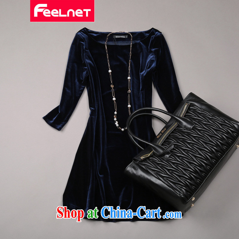 Feelnet thick mm spring new 2015 Korean literature in Europe and the Code female graphics thin dresses 1479. dark blue large code 6 XL