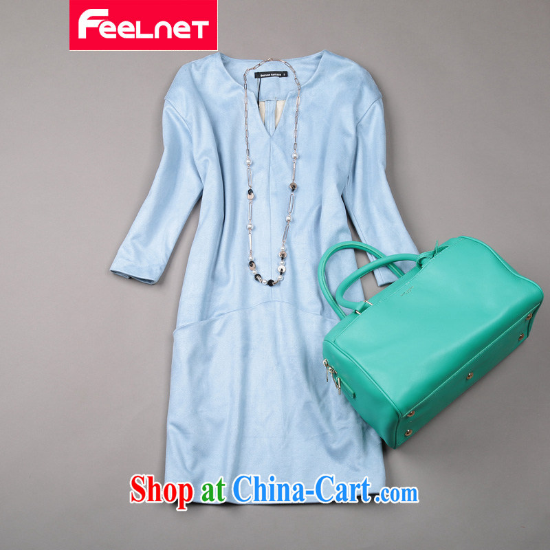 Feelnet mm thick spring and summer new 2015 Korean literature in Europe and the Code female graphics thin dresses 1482. Large blue code 6 XL