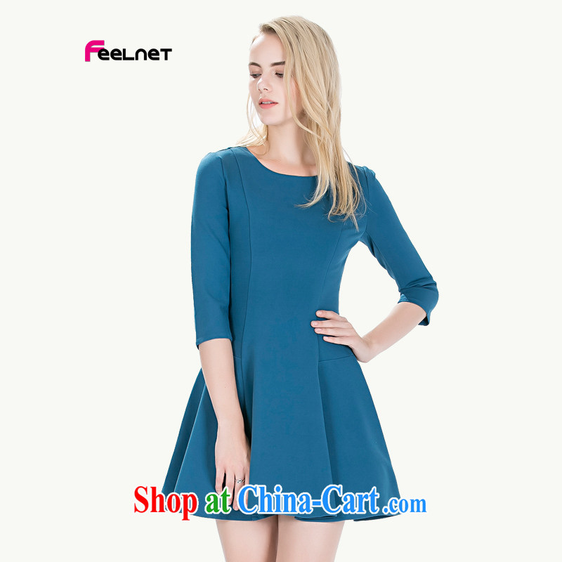 Feelnet thick mm spring new 2015 Korean literature in Europe and the Code female graphics thin dresses 1488. Large blue code 6 XL