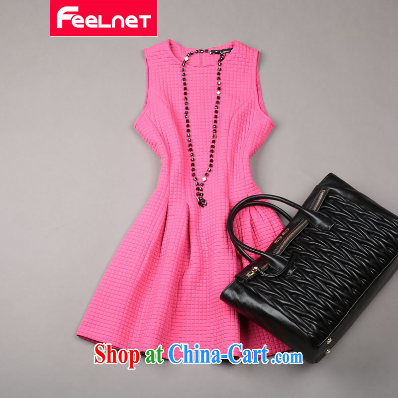 Feelnet mm thick spring and summer new 2015 Korean literature in Europe and the Code female graphics thin dresses 1490. The big red code 6 XL