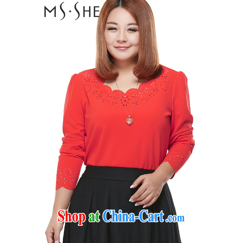 MsShe larger women 2015 new round-collar beauty and elegant long-sleeved micro pop-up T-shirt long-sleeved shirt T 7773 big red 5 XL