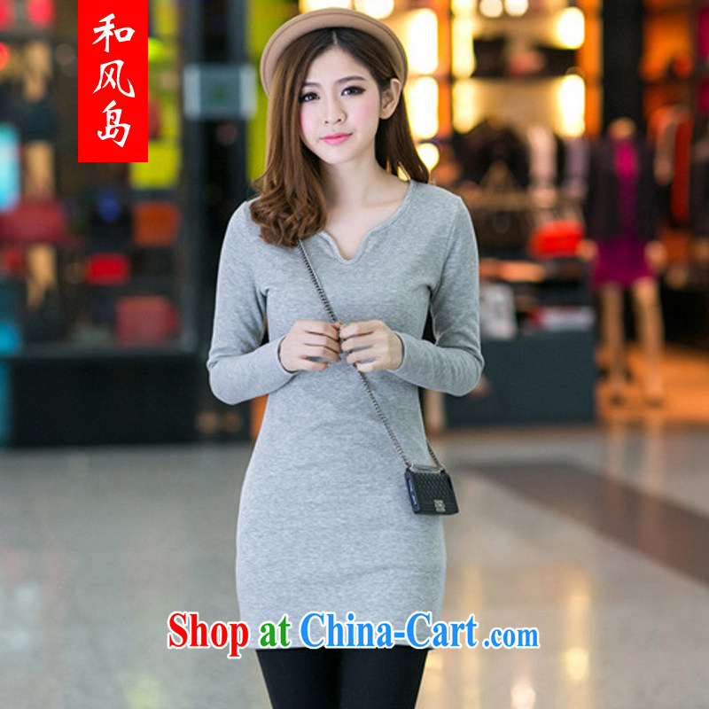 Island wind 2014 autumn and winter Korean female new Deep V for lint-free cloth with long-sleeved solid beauty package and a skirt 729 light gray M