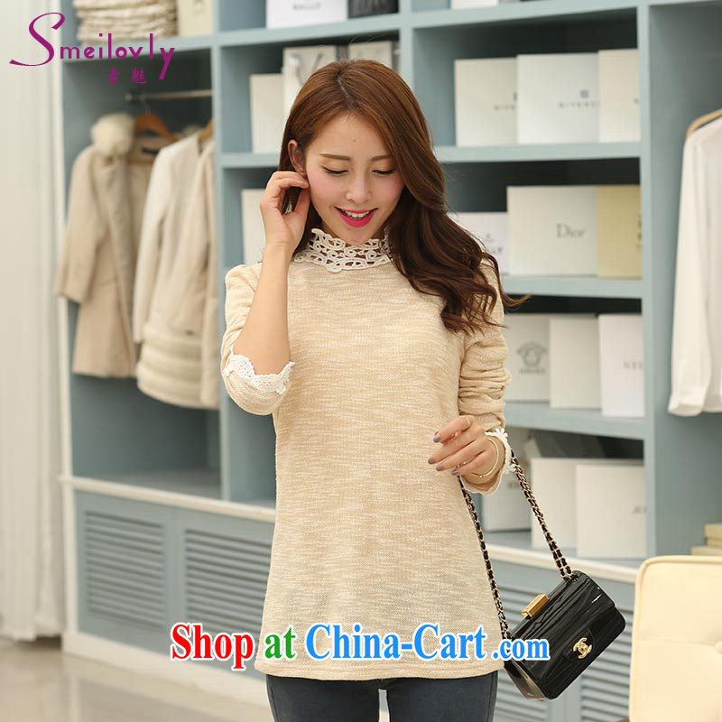 Staff of the fertilizer XL women mm thick 2014 autumn and winter with new high-collar lace cotton long-sleeved shirt T solid shirt 1713 apricot 5 XL