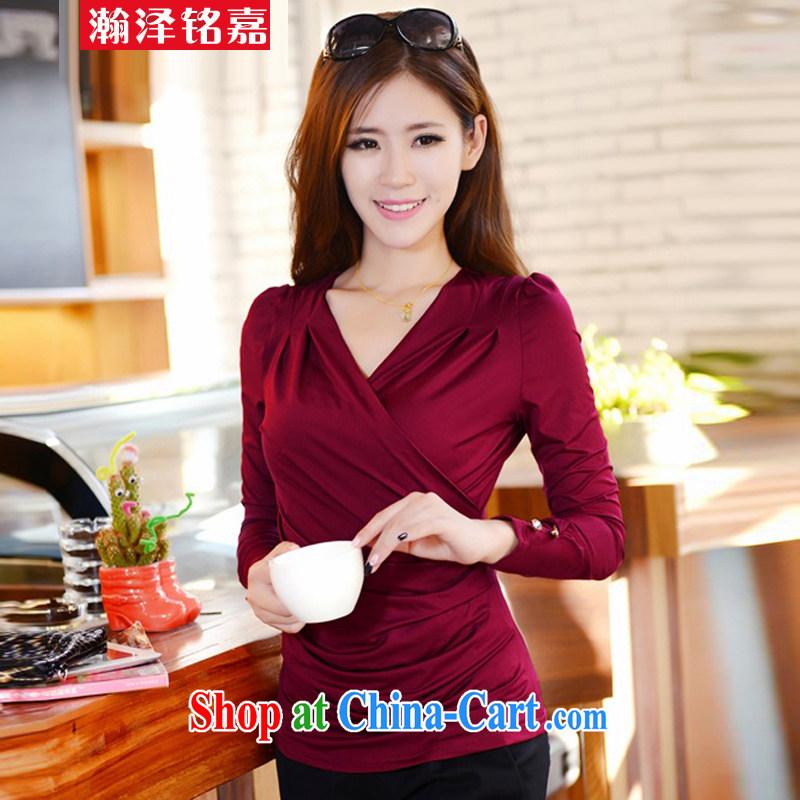 Han-taek-ming, Autumn 2014 the new, larger female Korean Beauty V collar long-sleeved T shirt wine red XXXL
