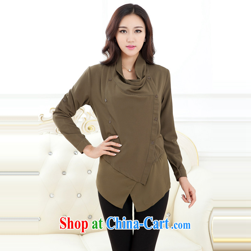 Zhang Lin , the fertilizer XL women mm thick load fall 2015 new European wind jacket, small jacket long-sleeved cardigan army green 5 XL recommendations 165 - 180 jack