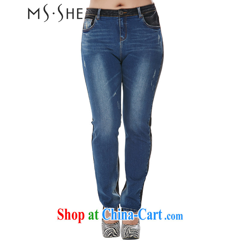 The MsShe indeed XL women 2014 autumn and winter new minimalist beauty cowboy castor trousers clearance 7701 denim blue T 5